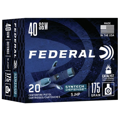 Federal Syntech Defense 40 S&W Ammo 175 Grain Segmented Hollow Point