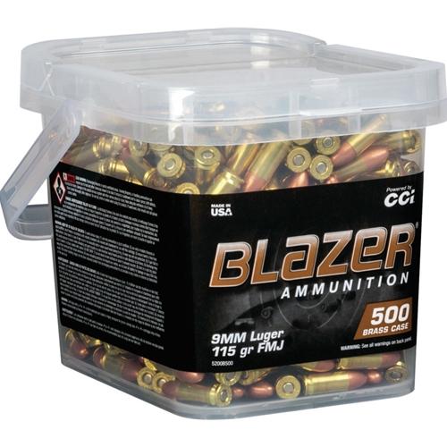 CCI Blazer Brass 9mm Luger Ammo 115 Grain FMJ 500 Round Bucket