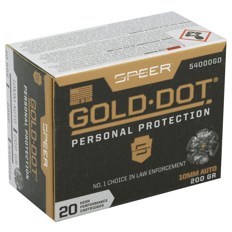 Speer Gold Dot Personal Protection 10mm AUTO Ammo 200 Grain Jacketed Hollow Point