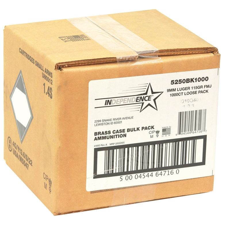 CCI Independence 9mm Luger Ammo 115 Grain FMJ 1000 Rounds Bulk Loose Pack