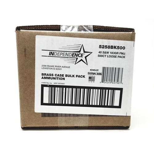 CCI Independence 40 S&W Ammo 180 Grain FMJ 500 Rounds Bulk Loose Pack