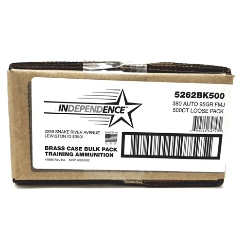 CCI Independence 380 ACP Ammo 95 Grain FMJ 500 Rounds Bulk Loose Pack