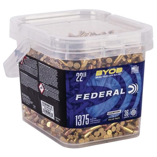 Federal Champion Small Game Target 22 Long Rifle Ammo 36 Grain BYOB Copper Plated Hollow Point