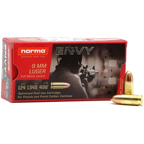 Norma Carbine Envy 9 mm Ammo 124 Grain Full Metal Jacket