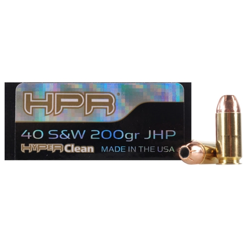 HPR HyperClean 40 S&W Ammo 200 Grain Hornady XTP Jacketed Hollow Point