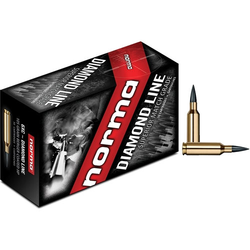Norma USA Diamond Line 6mm XC Ammo 105 Grain Hollow Point Boat Tail Moly