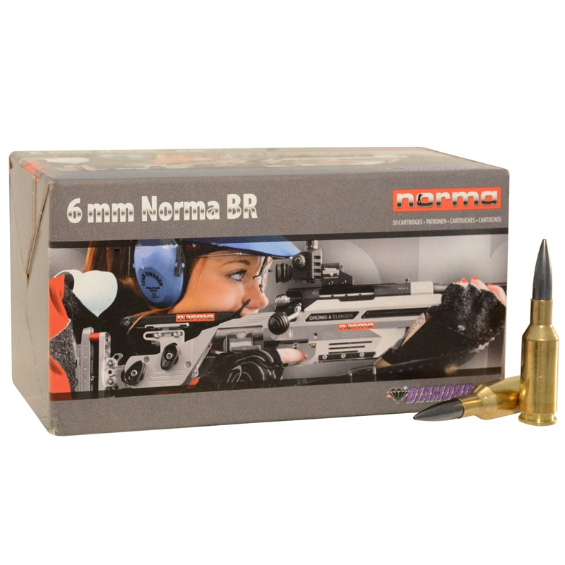 Norma USA Diamond Line 6mm Norma BR (Bench Rest) Ammo 105 Grain Hollow Point Boat Tail Moly
