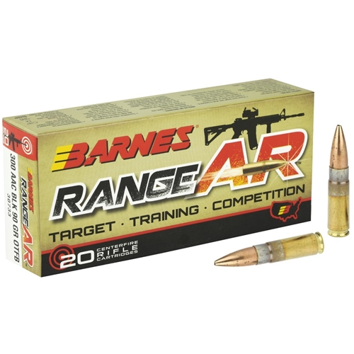 Barnes RangeAR 300 AAC Blackout Ammo 90 Grain Open Tip Flat Base Lead-Free