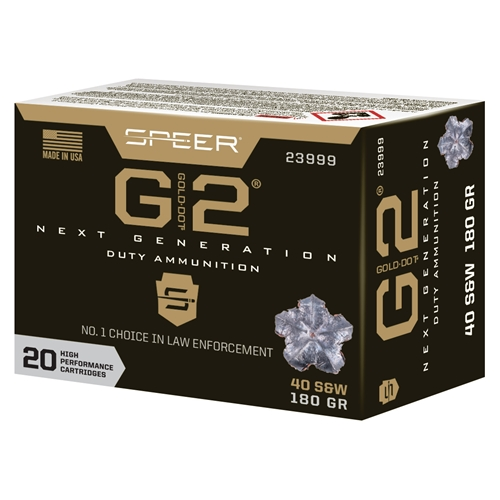 Speer Gold Dot G2 40 S&W Ammo 180 Grain Jacketed Hollow Point