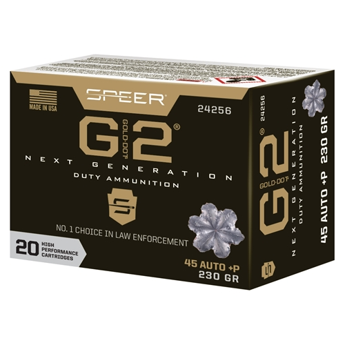 Speer Gold Dot G2 45 ACP AUTO Ammo 230 Grain +P Jacketed Hollow Point