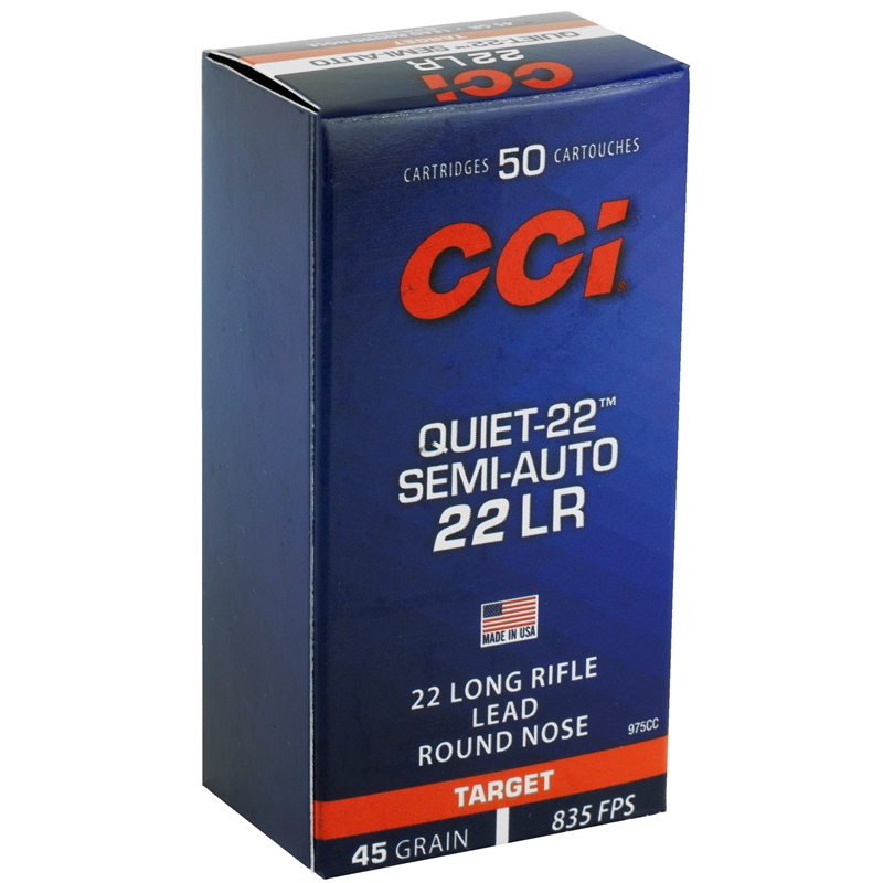 CCI Target & Plinking Quiet 22 Long Rifle Ammo 45 Grain Lead Round Nose