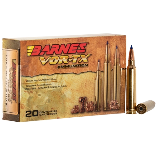 Barnes VOR-TX 300 Winchester Magnum Ammo 180 Grain TTSX Polymer Tipped Spitzer Boat Tail Lead-Free