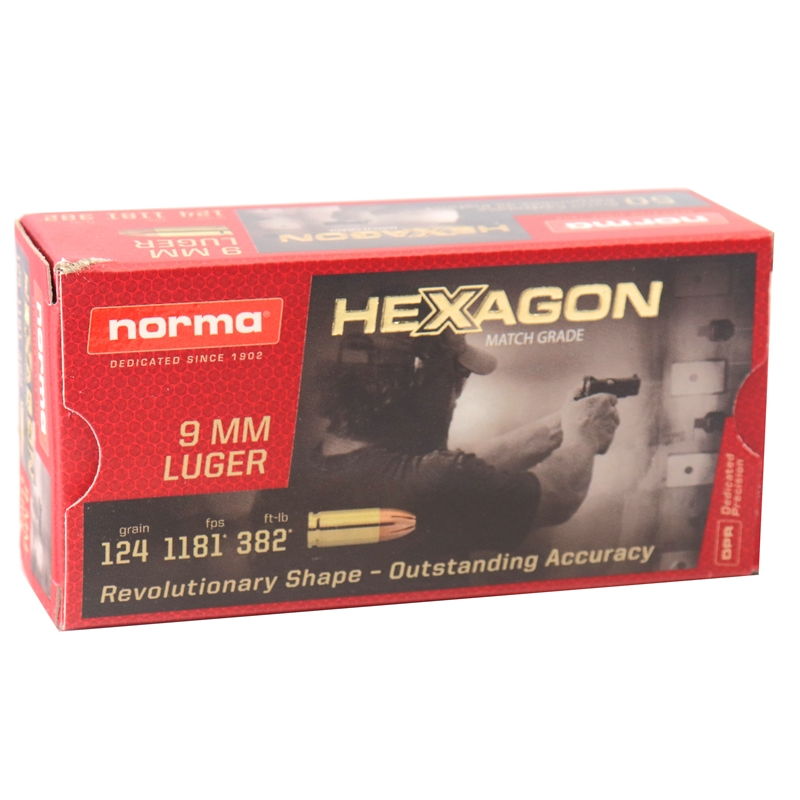Norma Match Grade 9 mm Ammo 124 Grain Hexagon