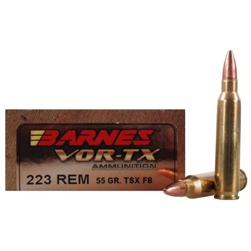 Barnes VOR-TX 223 Remington Ammo 55 Grain TSX Hollow Point Lead-Free
