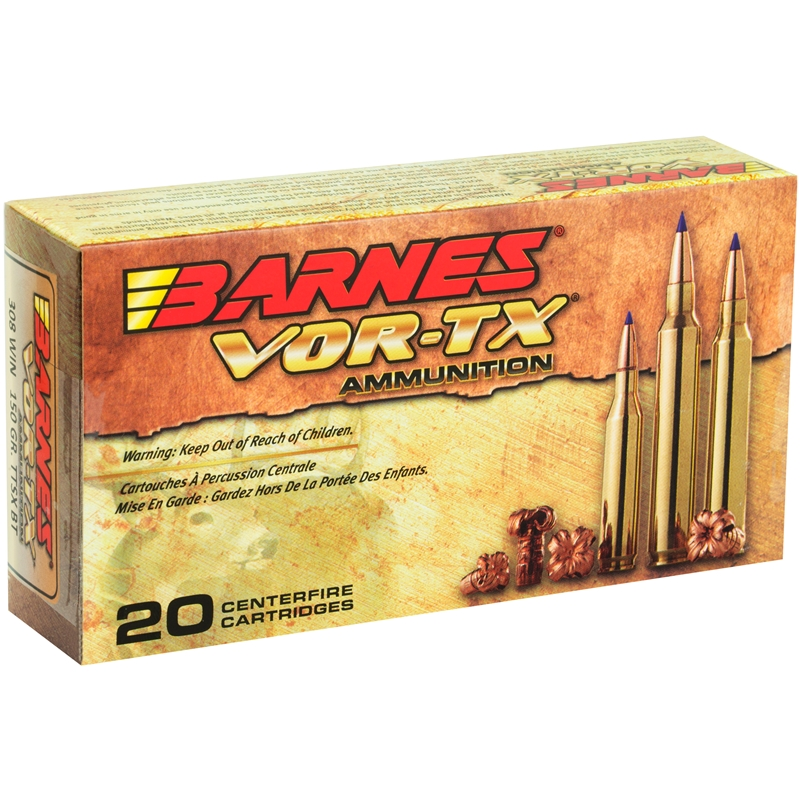 Barnes VOR-TX 308 Winchester Ammo 150 Grain TTSX Polymer Tipped Spitzer  Boat Tail Lead-Free