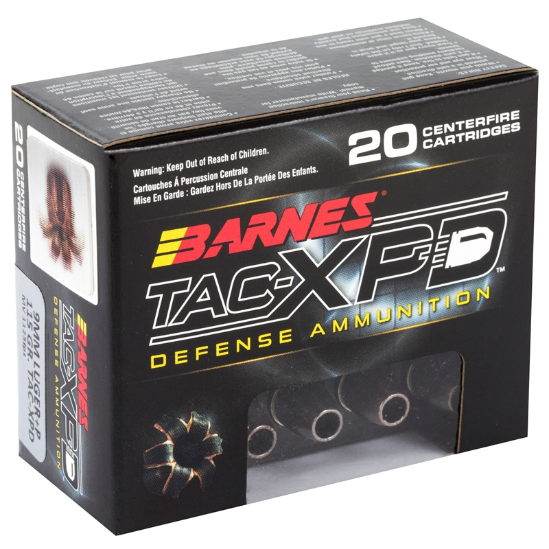 Barnes TAC-XPD 9mm Luger Ammo 115 Grain +P TAC-XP Hollow Point Lead-Free