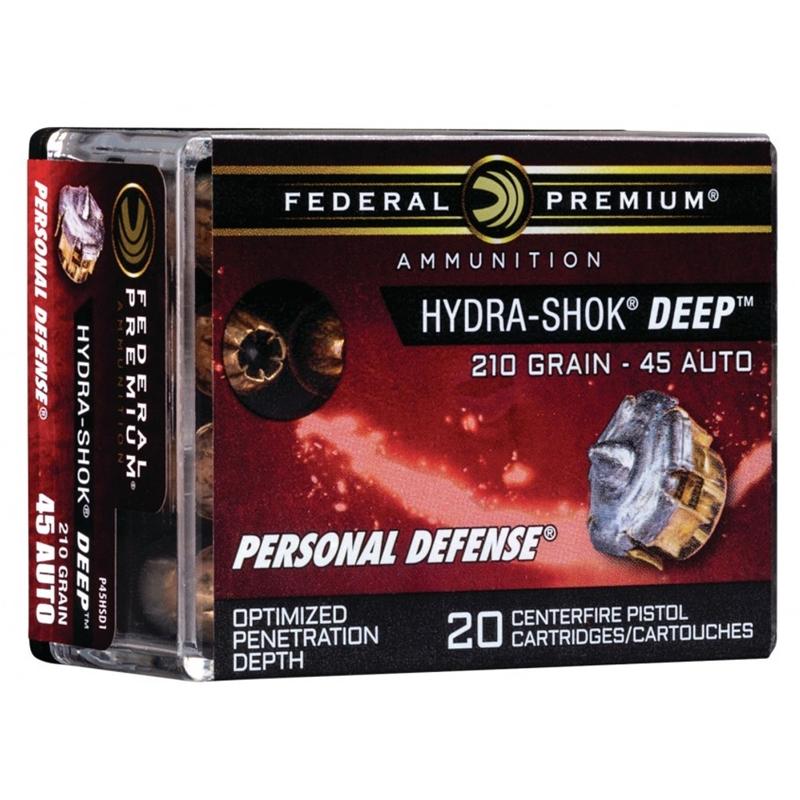 Federal Premium Hydra-Shok Deep 45 ACP AUTO Ammo 210 Grain Hollow Point Projectile