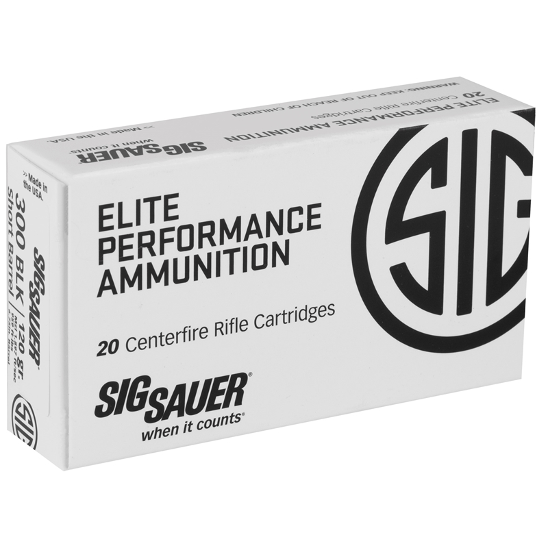 Sig Sauer Elite Performance HT Hunting 300 AAC Blackout Ammo 120 Grain Jacketed Hollow Point Copper Projectile