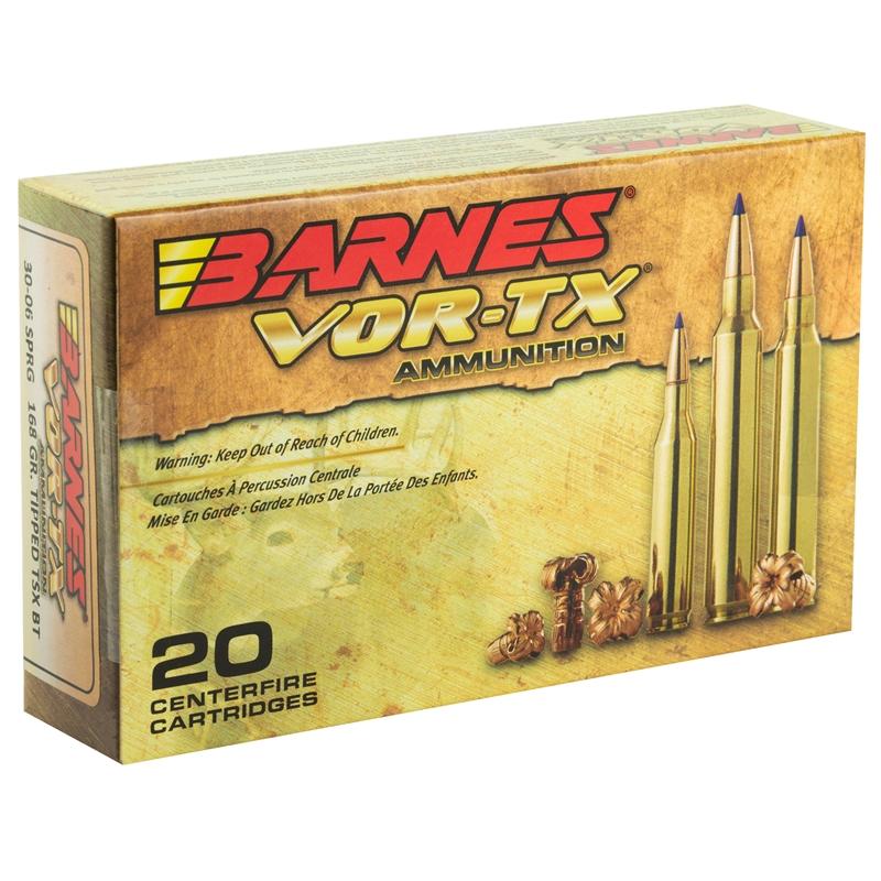 Barnes VOR-TX 30-06 Springfield Ammo 150 Grain Tipped TSX Bullet Boat Tail Lead-Free