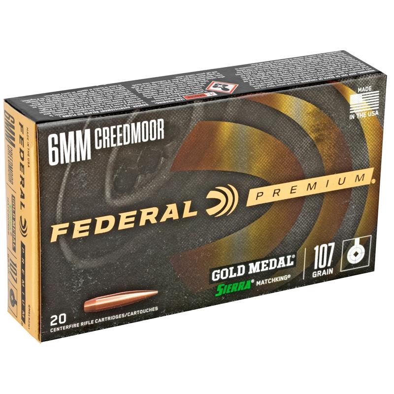 Federal Premium 6mm Creedmoor Ammo 107 GR Sierra MatchKing Boat-Tail HP