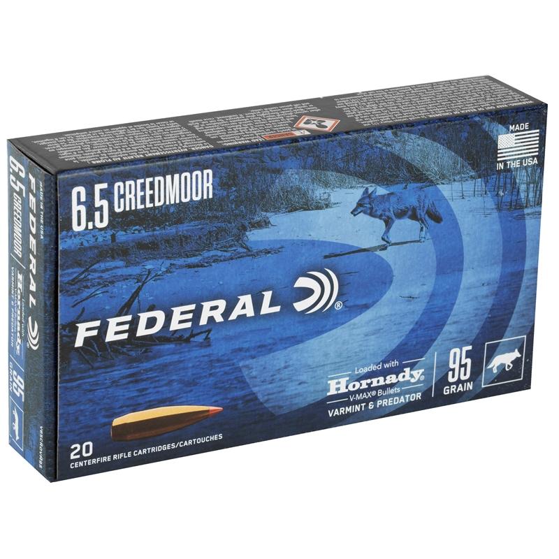 Federal Varmint & Predator 6.5 Creedmoor Ammo 95 Grain Hornady V-Max