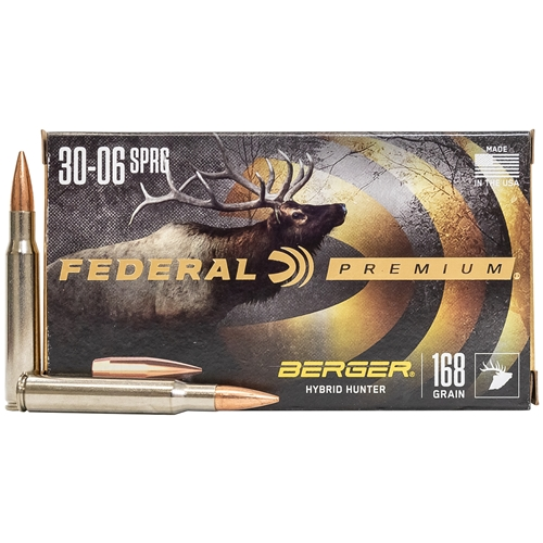 Federal Premium 30-06 Springfield Ammo 168 gr Berger Hybrid Hunter