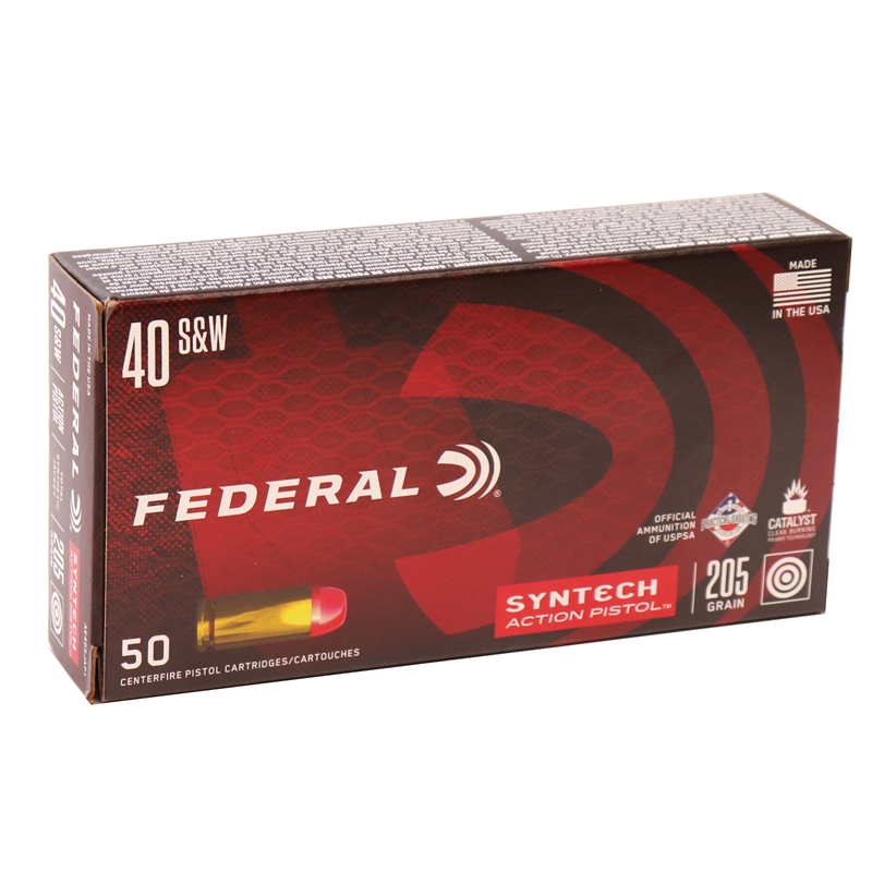 Federal Syntech Action Pistol 40 S&W Ammo 205 Grain Total Synthetic Jacket