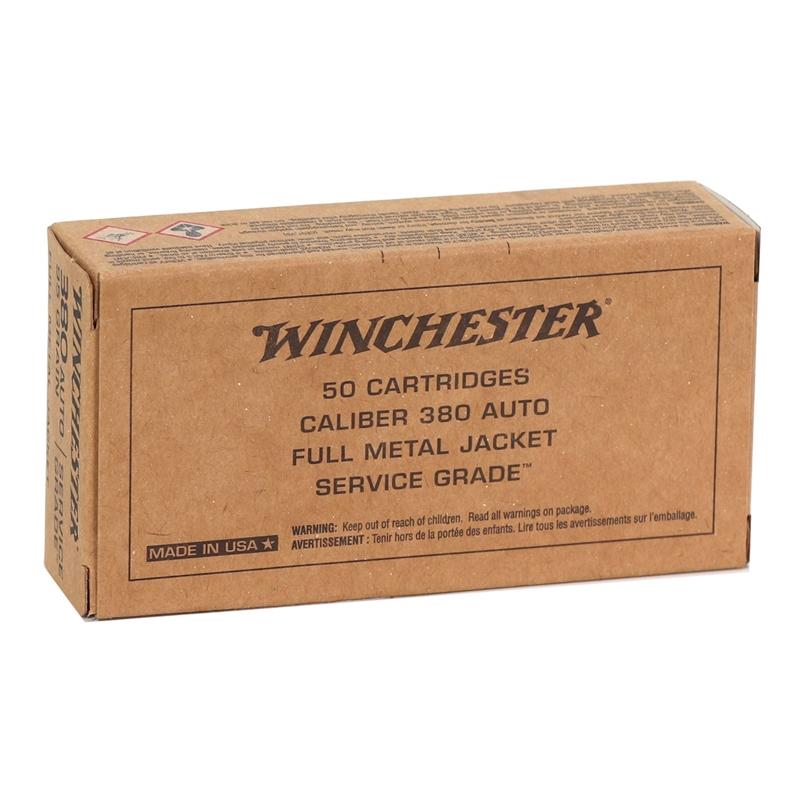 Winchester Service Grade 380 ACP Auto Ammo 95 Grain Full Metal Jacket