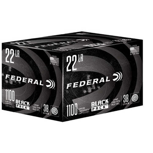 Federal Black Pack 22 Long Rifle Ammo 38 Grain Copper Plated Hollow Point 1100 Rounds