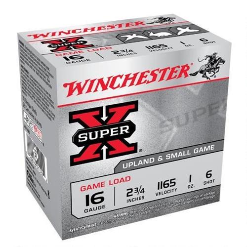"""Winchester Super-X Game Load 16 Gauge Ammo 2-3/4"""" 1 oz #6 Shot 250 Round Case"""