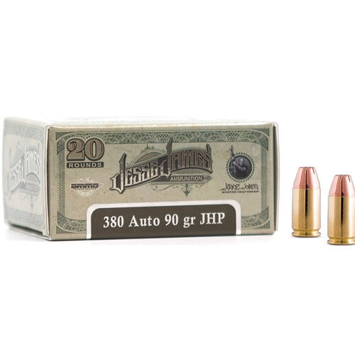 Ammo IncJesse James TML 380 ACP Auto Ammo 90 Grain Jacket Hollow Point