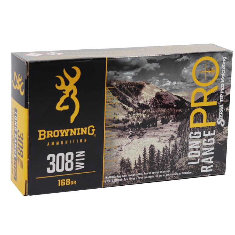 Browning Long Range Pro 308 Winchester Ammo 168 Grain BTHP