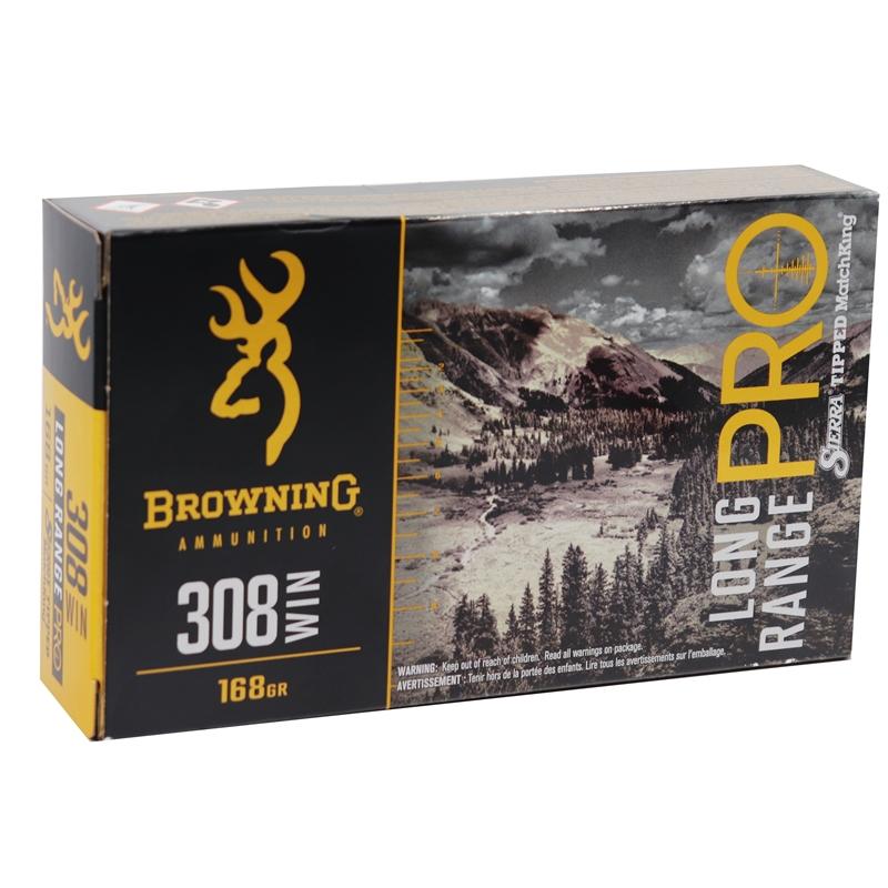 Browning Long Range Pro 308 Winchester Ammo 168 Grain BTHP