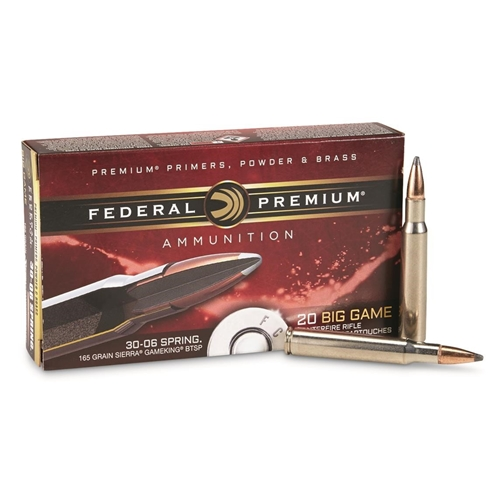 Federal Premium Vital-Shok 30-06 Springfield Ammo 165 Grain Sierra GameKing Boat-Tail Soft Point