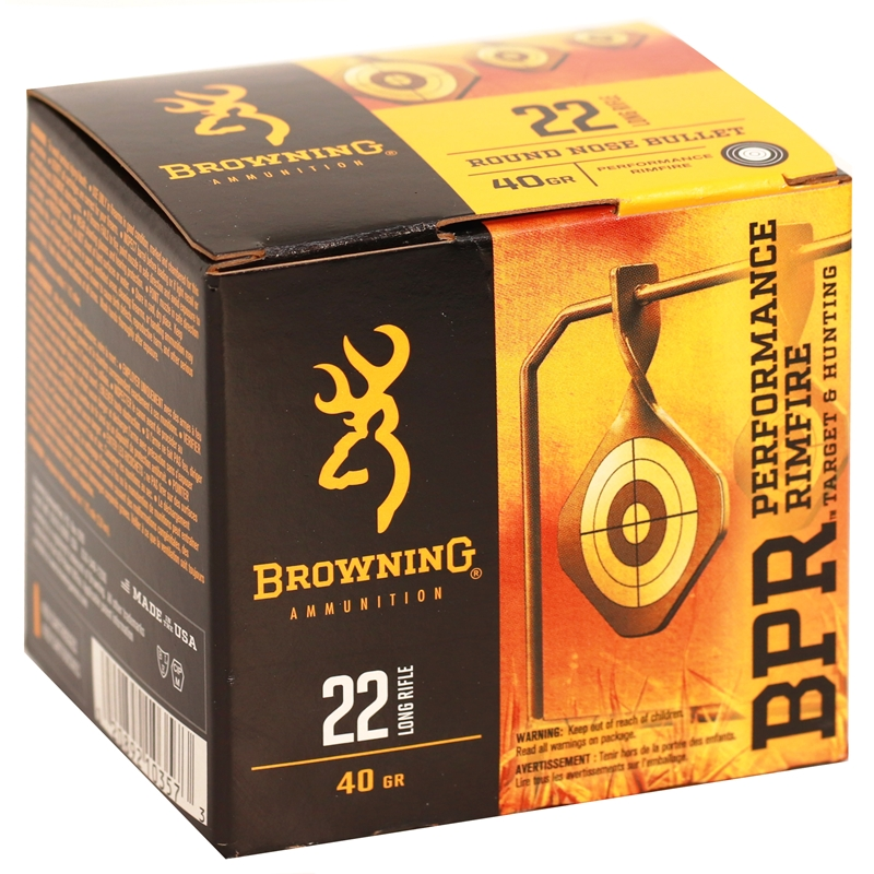 Browning BPR 22 Long Rifle Ammo 40 Grain Black Plated Lead Round Nose