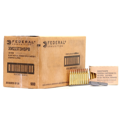 Federal 223 Remington Ammo 62 Grain Tactical Bonded Police Barrier Blind 900 Rounds on Stripper Clips