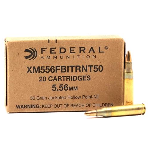 Federal FBI 5.56x45mm Ammo 50 Grain Non Toxic Jacketed Hollow Point