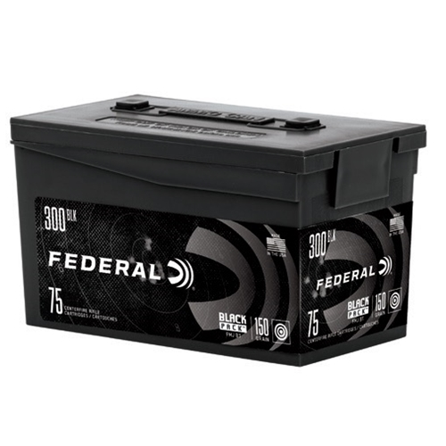 Federal Black Pack 300 AAC Blackout Ammo 150 Grain Full Metal Jacket Boat Tail 75 Rounds