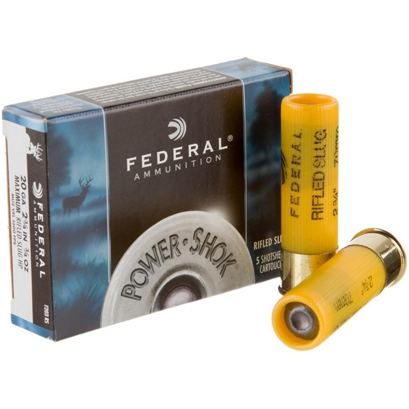 "Federal Power-Shok 20 Gauge Ammo 2-3/4"" 3/4 oz Hollow Point Rifled Slug"