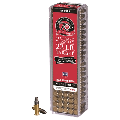 CCI Commemorative Ruger 70th Anniversary Edition 22 Long Rifle Ammo 40 Grain LRN
