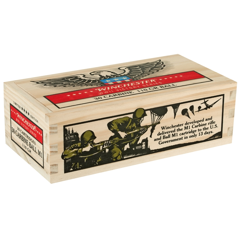 Winchester Limited Edition WWII Victory Series 30 Carbine Ammo 110 Grain M1 Ball Full Metal Jacket