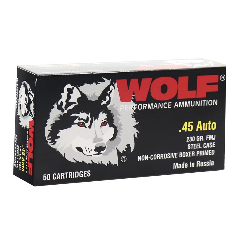 Wolf Performance 45 ACP AUTO Ammo 230 Grain FMJ Steel Case