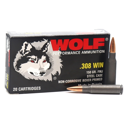 Wolf Performance 308 Winchester Ammo 150 Grain FMJ Steel Case