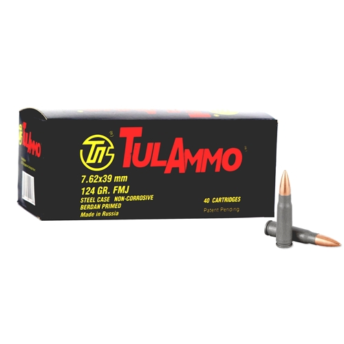 Tula Ammo 7.62x39mm Ammo 124 Grain Full Metal Jacket  Steel Case