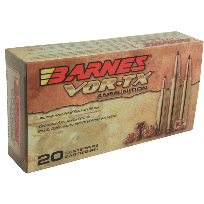 Barnes VOR-TX 308 Winchester Ammo 130 Grain TTSX Polymer Tipped Spitzer Boat Tail Lead-Free