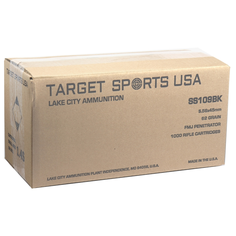 Target Sports USA Lake City Ammo 5.56x45mm M855 62 Grain FMJ-BT Penetrator