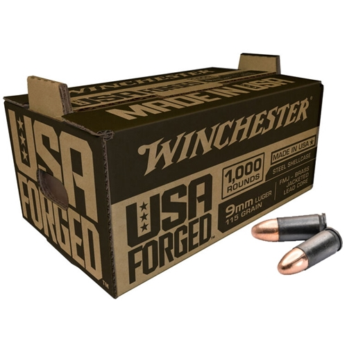 Winchester USA Forged 9mm Luger Ammo 115 Grain Full Metal Jacket Steel Shellcase 1000 Rounds