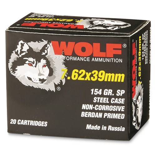 Wolf Performance 7.62x39mm Ammo 154 Grain SP Steel Case