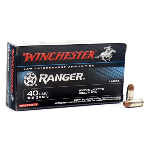 Winchester Ranger 40 S&W 165 Grain Bonded Jacketed Hollow Point
