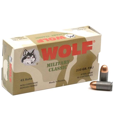 Wolf Military Classic 45 ACP AUTO Ammo 230 Grain FMJ Steel Case